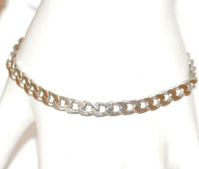 "7"" Vintage Sterling Silver 925 Flat Curb Link Bracelet With Gift Box 10g"