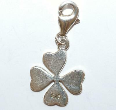 Lucky Four Leaf Clover Sterling Silver Crystal Set Bracelet Charm, Clip On Clasp