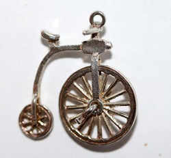Moving Nuvo Penny Farthing Bicycle Sterling Silver Vintage Charm 1.8g