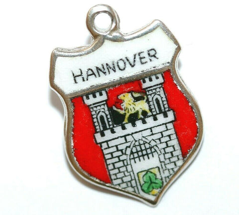 Hannover City in Germany 800 Silver Enamel Travel Shield Vintage Charm