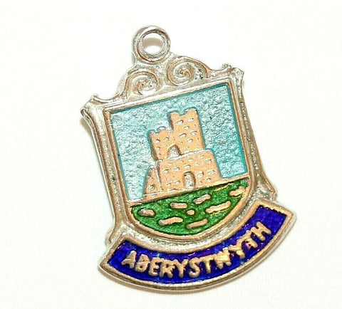 Aberystwyth Wales UK Sterling Silver Enamel Travel Shield Vintage Charm by WBS