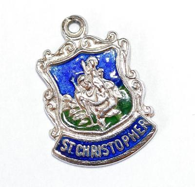 Saint Christopher Sterling Silver Enamel Travel Shield Vintage Bracelet Charm