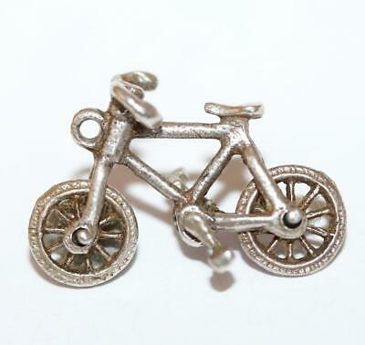 Bike With Moving Wheels And Pedals Sterling Silver 925 Bracelet Charm