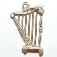 Celtic Harp On Stand Sterling Silver Vintage Bracelet Charm With Gift Box