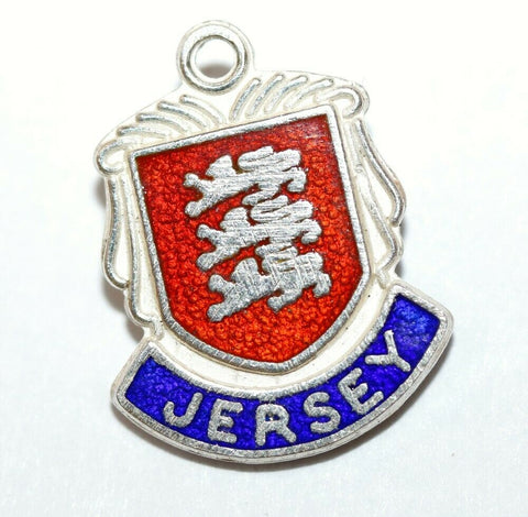 Jersey Island UK Sterling Silver Enamel Travel Shield Vintage Charm by QW