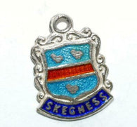 Skegness England Sterling Silver Enamel Travel Shield Vintage Charm 1.3g