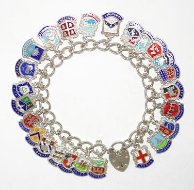 Vintage Sterling Silver UK Enamel London Windsor Travel Shields Charm Bracelet