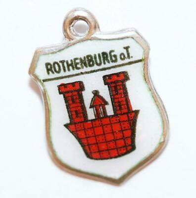 Vintage Rothenburg Germany 800 Silver Enamel Travel Shield Bracelet Charm