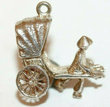 Moving Rickshaw With Walker Sterling Silver Bracelet Charm With Gift Box 3.4g