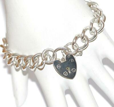 7 Vintage English Sterling Silver Charm Bracelet Padlock Clasp by D/&BS 23g