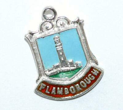 Flamborough Yorkshire England Sterling Silver Enamel Travel Shield Vintage Charm