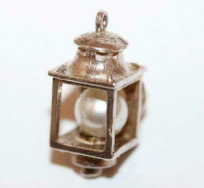 Nuvo Lantern Lamp With Faux Pearl Inside 925 Sterling Silver Vintage Charm 3.4g