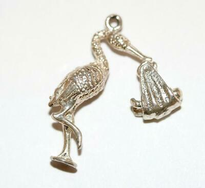 Stork Carrying Newborn Baby Moving Sterling Silver Vintage Bracelet Charm 3.5g