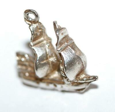 Galleon Sailing Ship Sterling Silver Vintage Bracelet Charm 2.9g