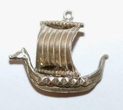 "Moving Viking Dragon Boat Ship Sterling Silver Vintage Bracelet Charm Larger 1""+"
