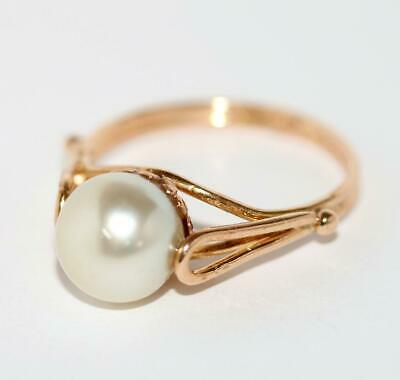 18k Yellow Gold Akoya Pearl Solitaire Ring Size 7.5