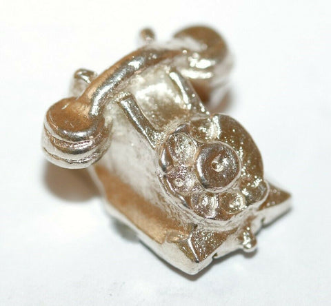 Desk Telephone Sterling Silver Vintage Bracelet Charm With Gift Box 2.7g