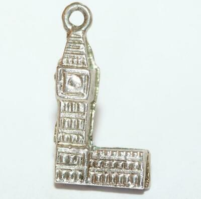 Big Ben Clock London Sterling Silver Vintage Bracelet Charm 3.1g