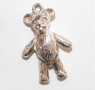 Moving Teddy Bear Sterling Silver Vintage Bracelet Charm 2.5g
