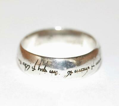 Sterling Silver 925 Lord Of The Rings Elvish Band Ring by Fusion Size 10