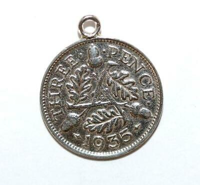 Antique 1935 English 3 Pence Coin Silver Charm, With Acorn and Oakleaf, Genuine