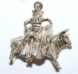 Bull And Spanish Matador Sterling Silver 925 Vintage Bracelet Charm, Larger 5.5g