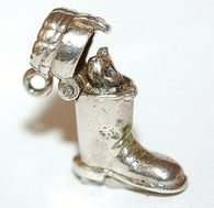 Cat In Opening Boot Sterling Silver Vintage Bracelet Charm With Gift Box 4.7g