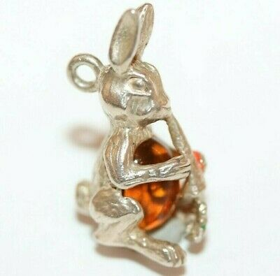 Peter Rabbit Jelly Belly Sterling Silver 925 Vintage Charm With Gift Box 2.8g