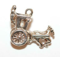 Hansom Carriage Horse Sterling Silver Vintage Bracelet Charm With Gift Box 2.8g
