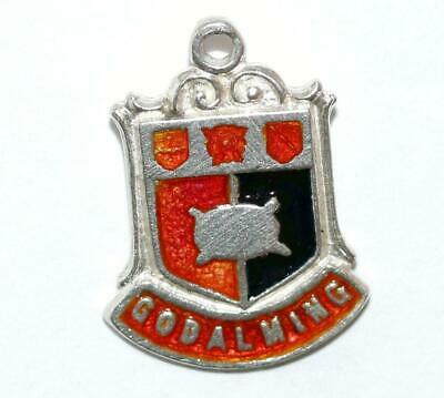 Godalming England Sterling Silver Enamel Travel Shield Vintage Charm