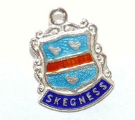 Skegness England Sterling Silver Enamel Scroll Travel Shield Vintage Charm