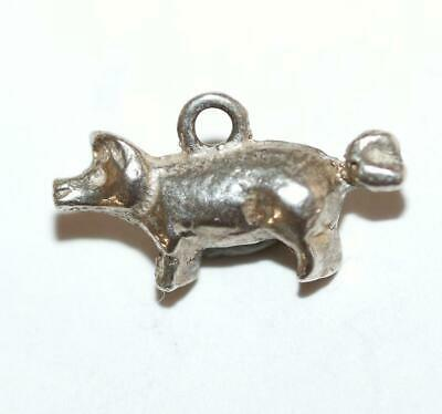Teeny Tiny Lucky Pig Sterling Silver Vintage Bracelet Charm With Gift Box c1960s
