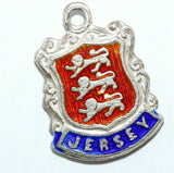 Jersey Channel Island England Sterling Silver Enamel Travel Shield Vintage Charm