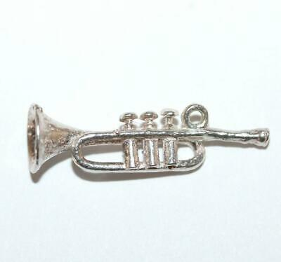 Trumpet Horn Sterling Silver Vintage Bracelet Charm With Gift Box 1.7g