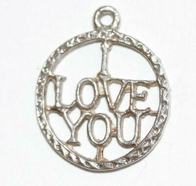 I Love You Medallion Sterling Silver Vintage Charm Pendant With Gift Box 1g