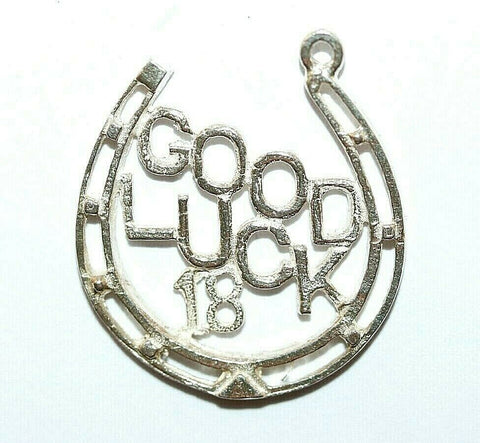 "Good Luck Horseshoe 18th Birthday Sterling Silver Vintage Bracelet Charm 1"" Long"
