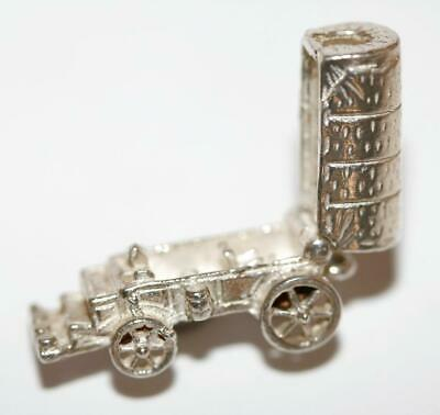 Opening Wild West Wagon Wagon Sterling Silver 925 Vintage Bracelet Charm 4.9g