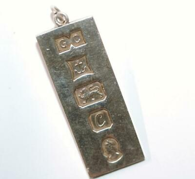 Large Vintage Sterling Silver Bullion Bar Ingot Charm Pendant by GC, Heavy 29g