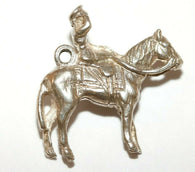 Queen Riding Horse Sterling Silver Vintage Bracelet Charm With Gift Box 3g