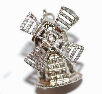 Large Moving Windmill Sterling Silver Vintage Bracelet Charm With Gift Box 6.1g