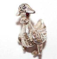Rare Nuvo Moving Pirate Duck Sterling Silver Vintage Bracelet Charm