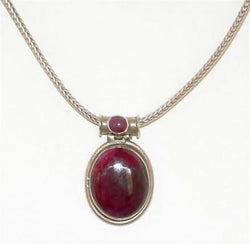 Ladies Sterling Silver 925 Ruby Zoisite Cabochon Pendant Necklace