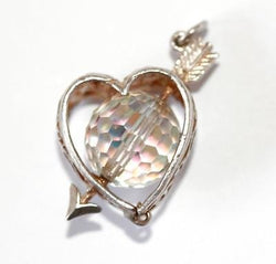 Moving Heart And Arrow  Sterling Silver Crystal Vintage Bracelet Charm