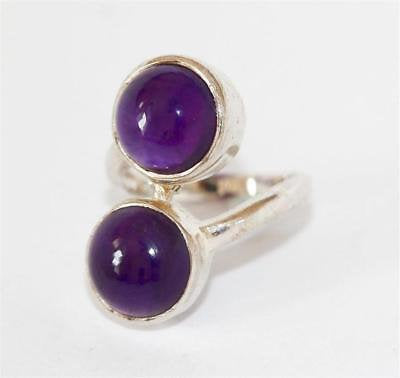 Sterling Silver 3.5ctw Amethyst Two Stone Bypass Ring Signed TGGC  Size 5.5