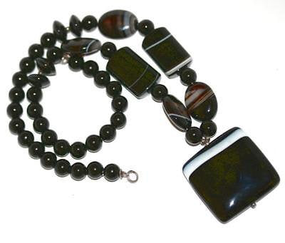 Antique Vintage English Black Banded Agate Sterling Silver Statement Necklace