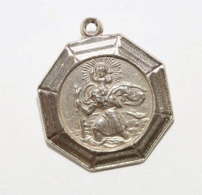 Saint Christopher Medal Sterling Silver Vintage Charm Signed GJ Ltd