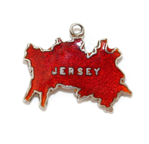 Jersey Island England Travel Map  Red Enamel Sterling Silver Vintage Charm by TLM