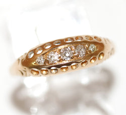 Antique Edwardian 18k Gold .15 ctw Diamond Five Stone Ring Size 7.5