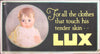 LUX - FOR ALL THAT TOUCHES HIS TENDER SKIN - c1925  original Trolley Card poster
