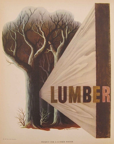 A.M. Cassandre - Say it with Teleflowers & Lumber (Two Sided Print), 1938